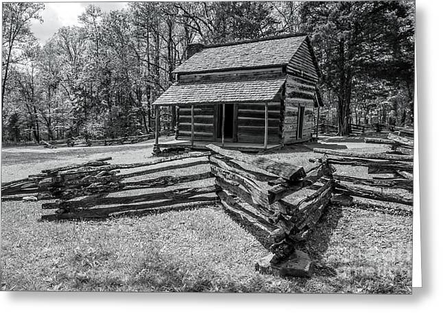 Landscape Posters Greeting Cards - Cades Cove Settlers Cabin Greeting Card by Debbie Green