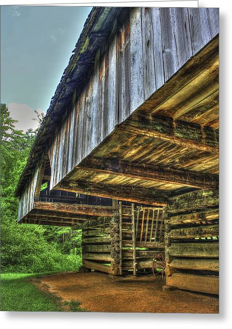 Old Barns Greeting Cards - Cades Cover Cantilever Barn 2 Greeting Card by Reid Callaway