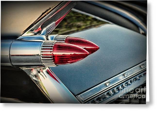 Cadillac Bullet Lights Greeting Card by Paul Ward