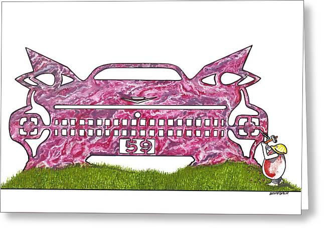 Pink cadillac paintings greeting cards for sale for Koi pool fleetwood