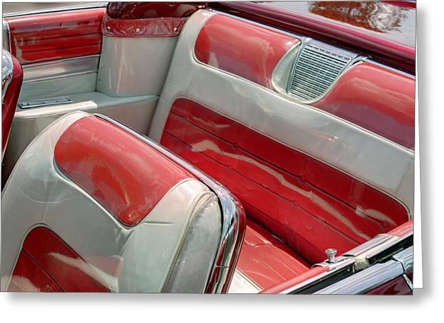 El Dorado Greeting Cards - Cadillac El Dorado 1958 seats. Miami Greeting Card by Juan Carlos Ferro Duque