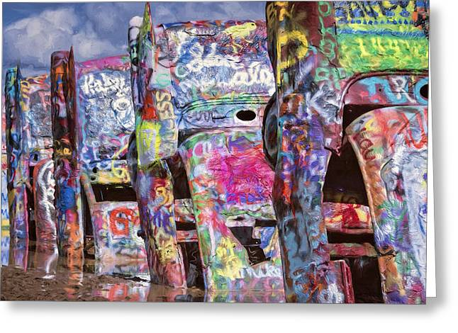 Cadillac Ranch Afternoon Painterly Greeting Card by Joan Carroll