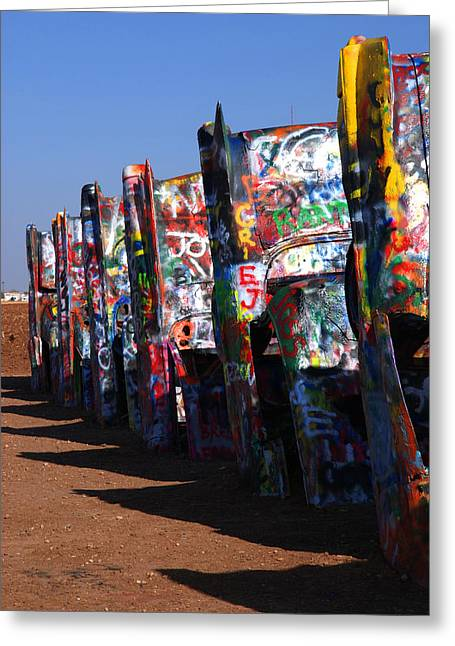 Cadillac Ranch Route 66 Greeting Card by Susanne Van Hulst