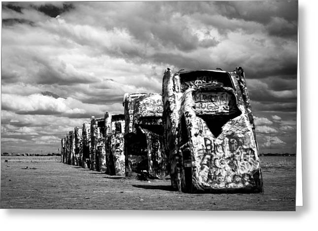 Sonja Quintero Greeting Cards - Cadillac Ranch Greeting Card by Sonja Quintero