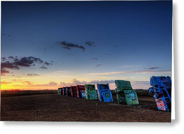 Best Seller Greeting Cards - Cadillac Ranch Sunrise Greeting Card by Ken Smith