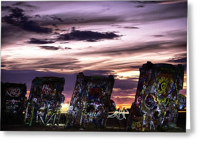 Installation Art Greeting Cards - Cadillac Ranch Sunset  Greeting Card by John Trew