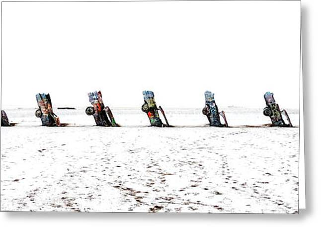 Installation Art Greeting Cards - Cadillac Ranch Whiteout 001 Greeting Card by Lance Vaughn