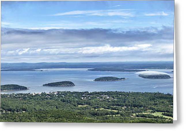 Park Scene Greeting Cards - Cadillac Summit panorama - Acadia National Park Maine Greeting Card by Brendan Reals