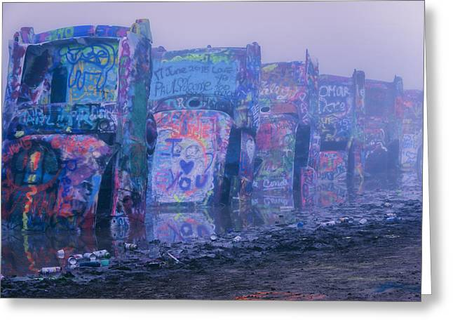 Cadillacs In The Mist Greeting Card by Joan Carroll