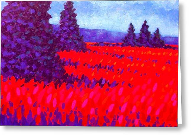 Table Wine Greeting Cards - Cadmium Field Greeting Card by John  Nolan