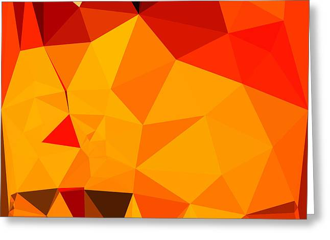 Cadmium Yellow Abstract Low Polygon Background Greeting Card by Aloysius Patrimonio