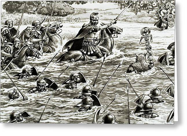 Caesar's Legions Crossing The Thames Greeting Card by Pat Nicolle