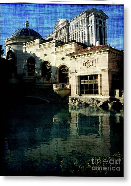 Caesars Palace Greeting Cards - Caesars towering over Bellagio Greeting Card by David Bearden