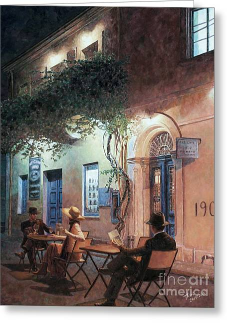 Film Noir Paintings Greeting Cards - Cafe At Night Greeting Card by Theo Michael
