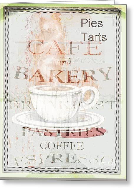 Award Mixed Media Greeting Cards - Cafe Bakery Vintage Sign Print Greeting Card by ArtyZen Studios - ArtyZen Home