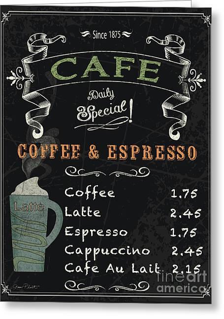 Italian Kitchen Greeting Cards - Cafe Blackboard Coffee Menu-JP3046 Greeting Card by Jean Plout