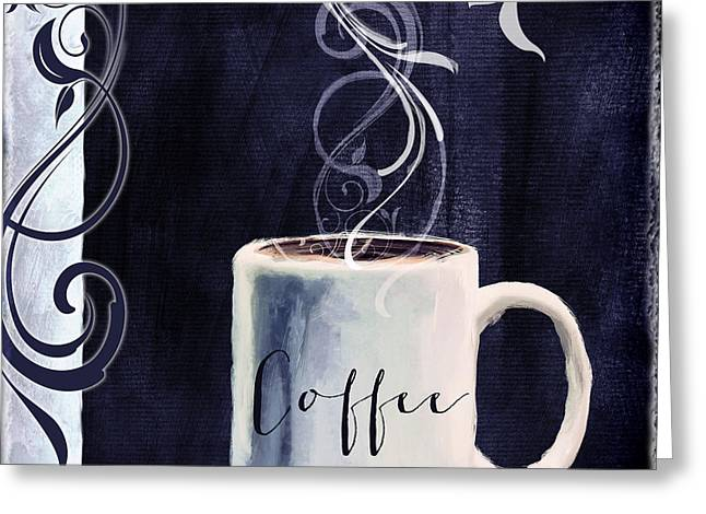Americano Greeting Cards - Cafe Blue I Greeting Card by Mindy Sommers