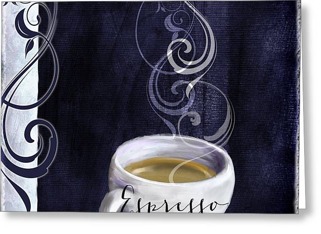 Espresso Art Greeting Cards - Cafe Blue IV Greeting Card by Mindy Sommers