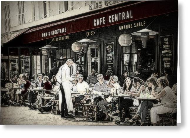 Table Wine Greeting Cards - Cafe Central in Paris Greeting Card by Toni Abdnour