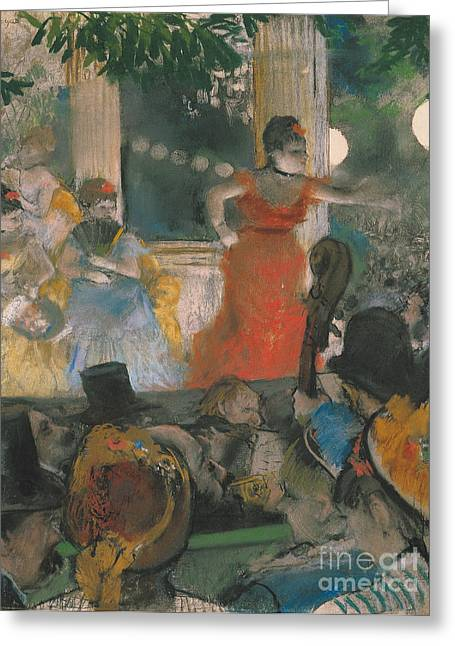 Dancers (pastel) By Edgar Degas (1834-1917) Greeting Cards - Cafe Concert at Les Ambassadeurs Greeting Card by Edgar Degas