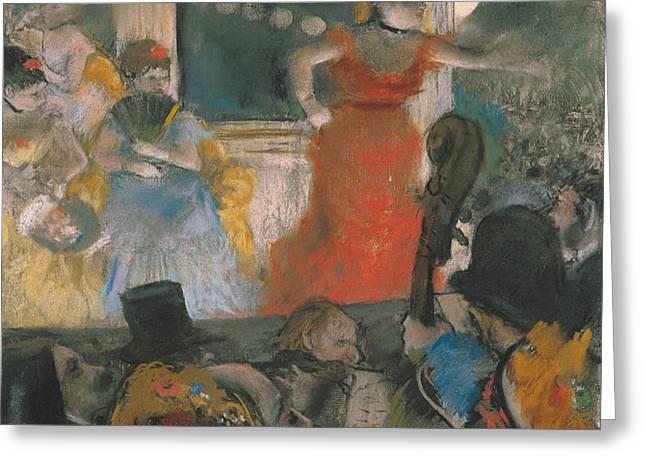 Cafe Concert at Les Ambassadeurs Greeting Card by Edgar Degas