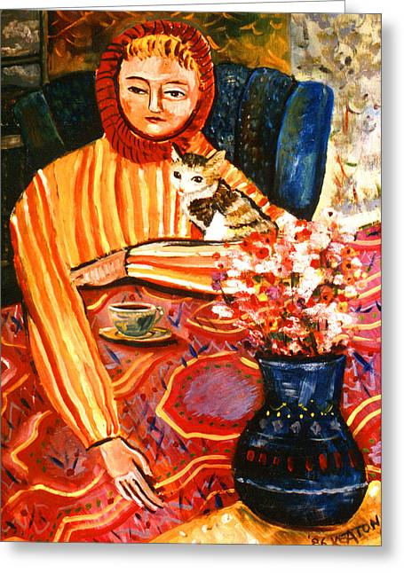 Johnkeaton Greeting Cards - Cafe Dame with a Cat Greeting Card by John Keaton