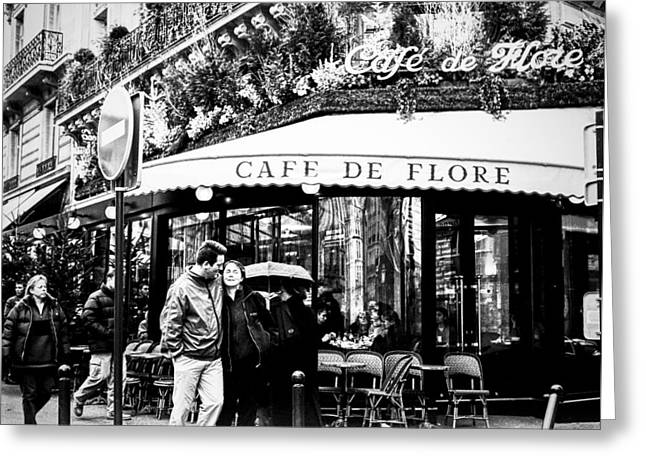 Cafe Pyrography Greeting Cards - Cafe De Flore. at  Blvd. St. Germain. Paris. Greeting Card by Cyril Jayant