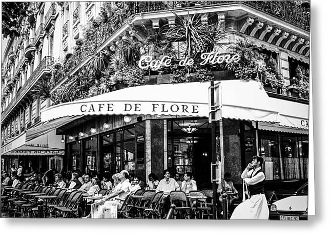 Cafe Pyrography Greeting Cards - CAFE DE FLORE. Paris. Greeting Card by Cyril Jayant