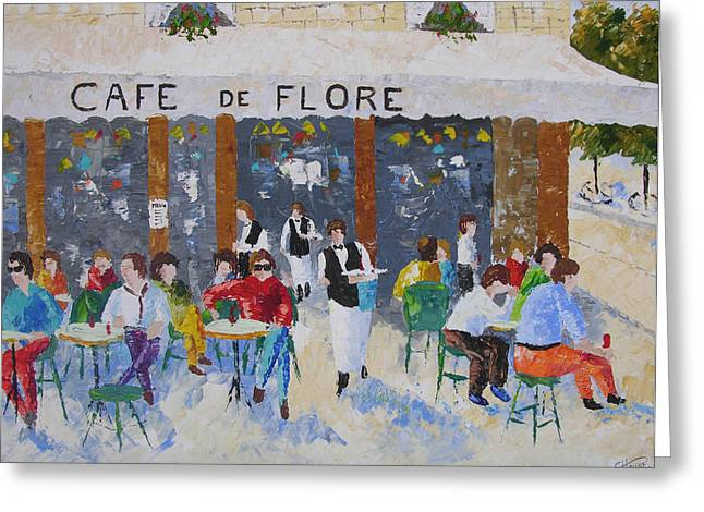 South Of France Greeting Cards - Cafe de Flore Paris France Greeting Card by Frederic Payet