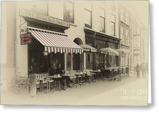 Tea Drinking Greeting Cards - Cafe du centre  Greeting Card by Rob Hawkins