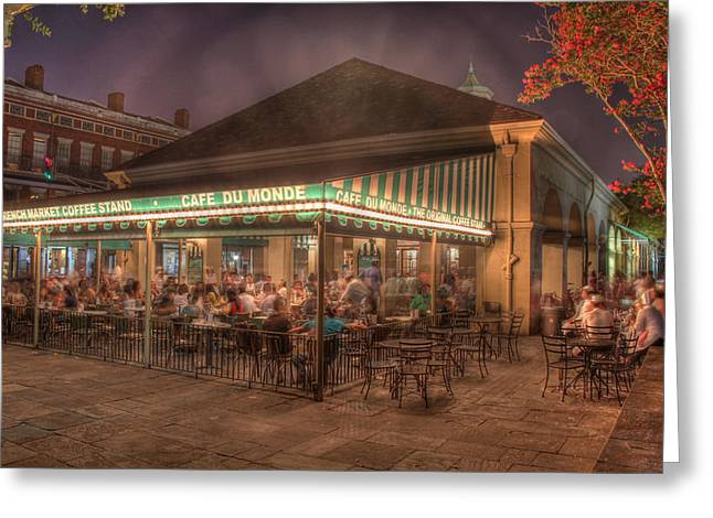 Night Cafe Greeting Cards - Cafe Du Monde Greeting Card by Steve Ellenburg