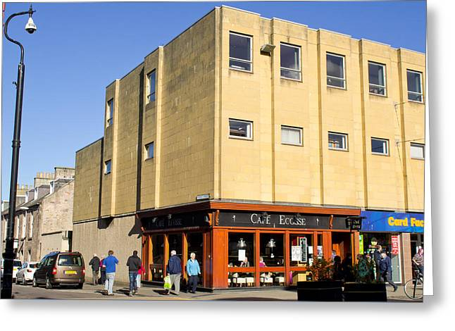 Brutalist Greeting Cards - Cafe Ecosse Greeting Card by Tom Gowanlock