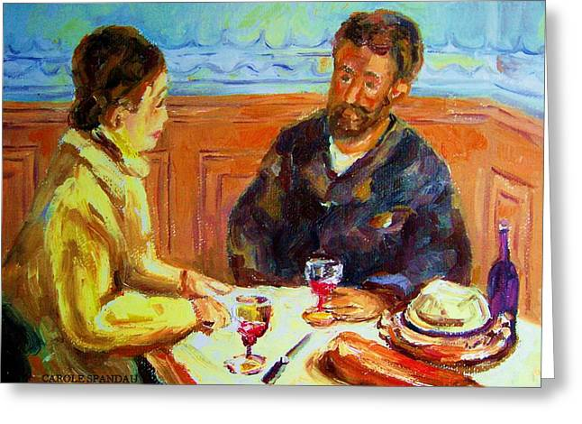 Out-of-date Greeting Cards - Cafe  Homage  De Pierre Auguste Greeting Card by Carole Spandau