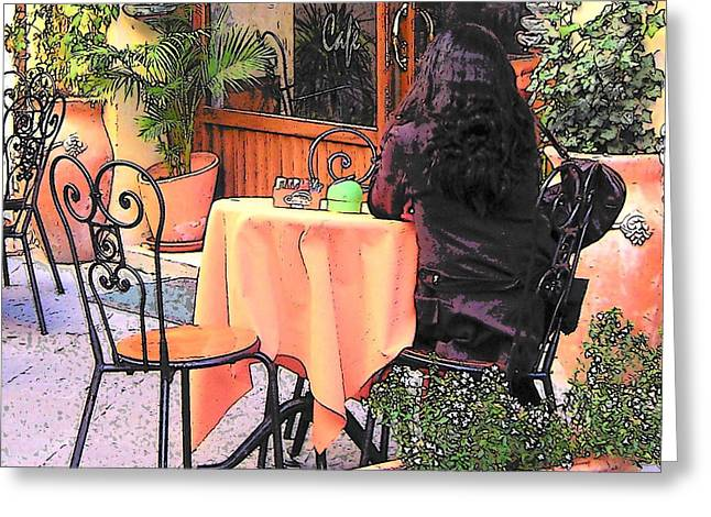 Cafe In Montepulciano Tuscany Greeting Card by Jan Matson