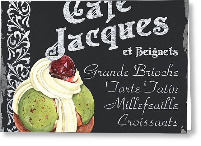 Snacking Greeting Cards - Cafe Jacques Greeting Card by Debbie DeWitt