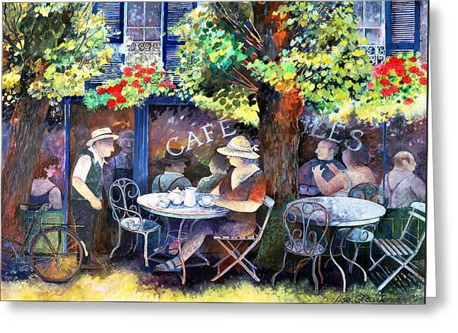 Lush Green Greeting Cards - Cafe Jules Greeting Card by Lisa Graa Jensen
