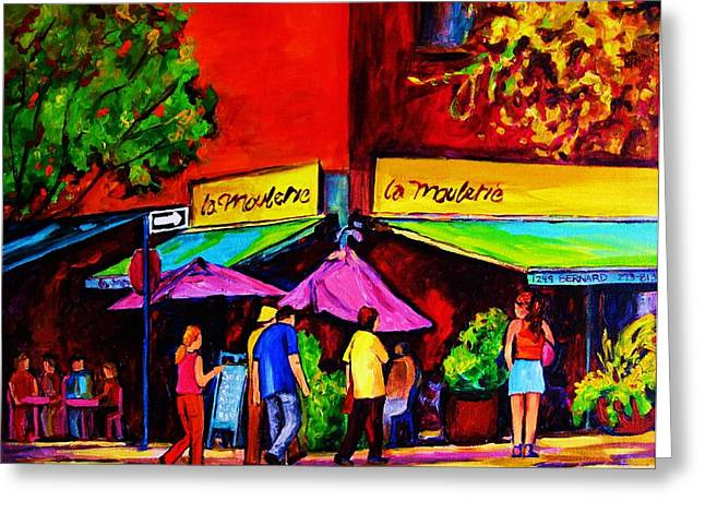 Streetfood Greeting Cards - Cafe La Moulerie On Bernard Greeting Card by Carole Spandau