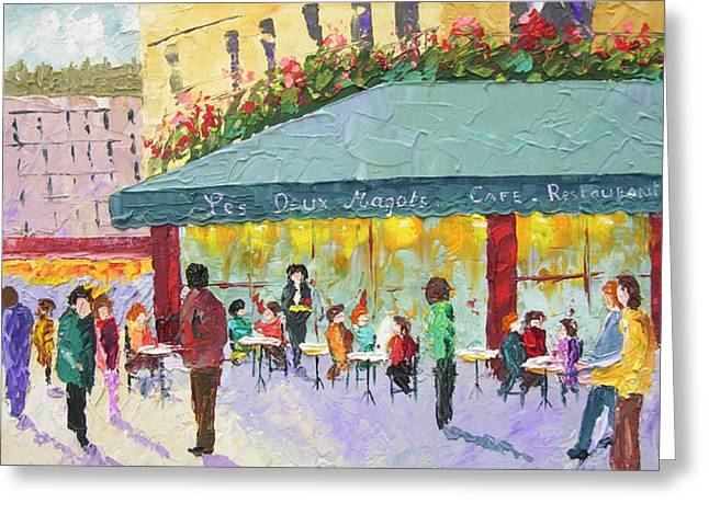 South Of France Greeting Cards - Cafe les deux Magots Paris France Greeting Card by Frederic Payet