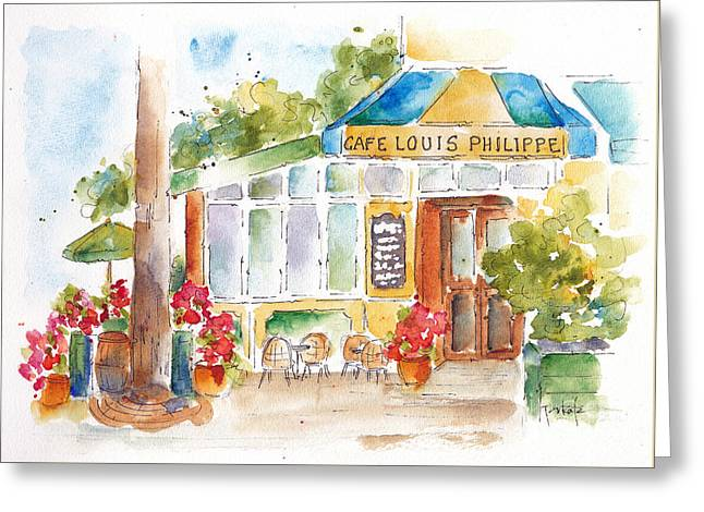 Rose Red City Greeting Cards - Cafe Louis Philippe Greeting Card by Pat Katz