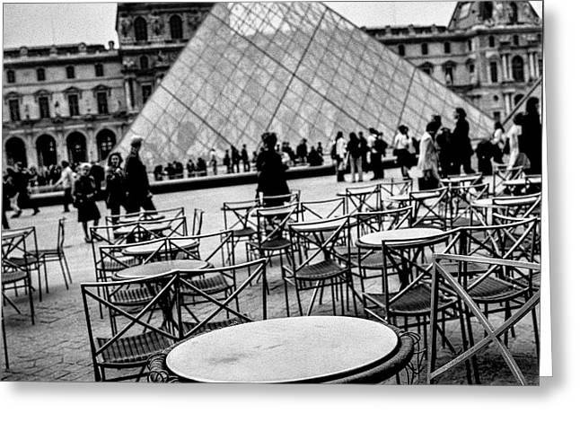 Cafe Pyrography Greeting Cards - Cafe Marley in Cour du Louvre Paris. Greeting Card by Cyril Jayant