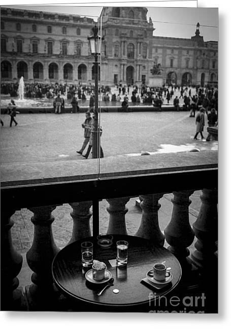 Cafe Pyrography Greeting Cards - Cafe Marly- Cour du louvre Paris.  Greeting Card by Cyril Jayant