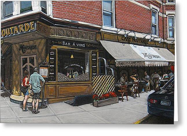 Park Scene Paintings Greeting Cards - Cafe Moutarde Greeting Card by Ted Papoulas