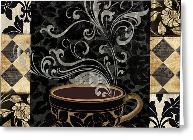 Patch Greeting Cards - Cafe Noir I Greeting Card by Mindy Sommers