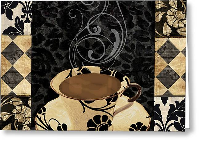 Patch Greeting Cards - Cafe Noir III Greeting Card by Mindy Sommers