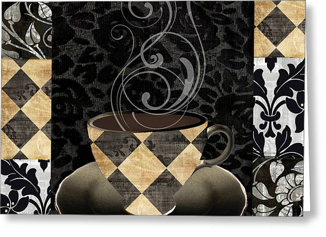 Patch Greeting Cards - Cafe Noir IV Greeting Card by Mindy Sommers