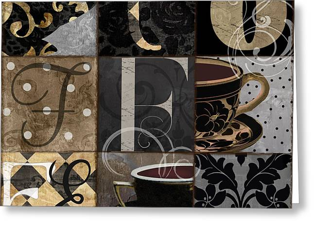 Cafe Noir Patchwork Greeting Card by Mindy Sommers
