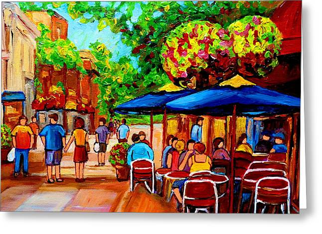 Streetfood Greeting Cards - Cafe On Prince Arthur  In Montreal  Greeting Card by Carole Spandau