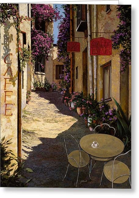 Red Doors Greeting Cards - Cafe Piccolo Greeting Card by Guido Borelli