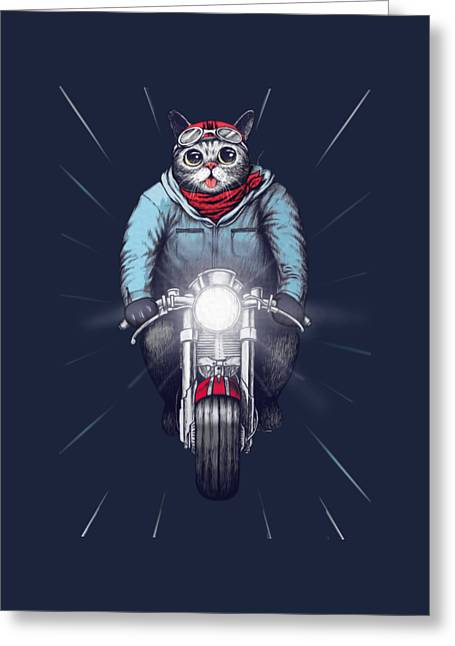 Cute Kitten Drawings Greeting Cards - Cafe Racer Cat Greeting Card by Illustratorial