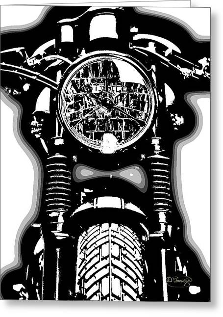80s Mixed Media Greeting Cards - Cafe Racer Greeting Card by D Tower Jr